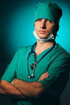 Surgeon with stethoscope