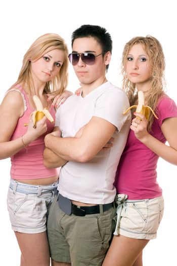 Portrait of three pretty young people. Isolated