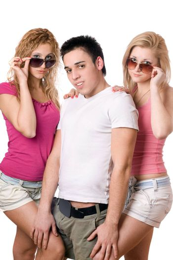 Portrait of a two pretty blonde women with handsome young man
