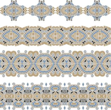 Set of borders with ornament. Collection of seamless ornamental floral stripes. Interesting solutions for your design