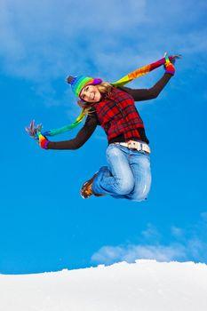 Happy girl jumping