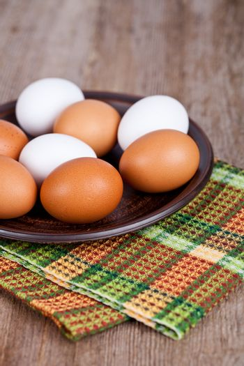 eggs in a plate and towel