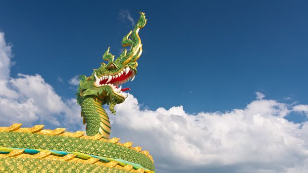 The head of asian dragon on the cloudy sky background