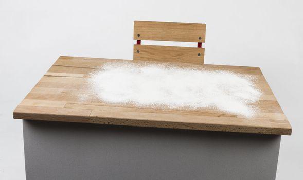 childrens desk with flour