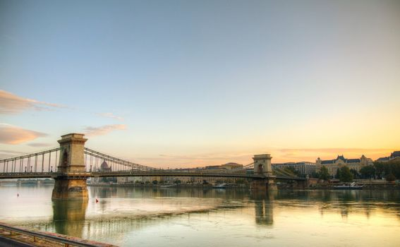Szechenyi suspension bridge in Budapest, Hungary