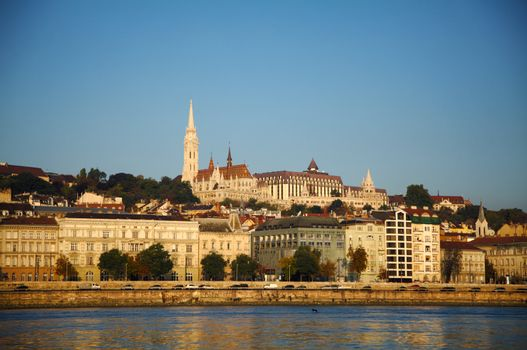 Overview of Budapest as seen from Szechenyi chain bridge
