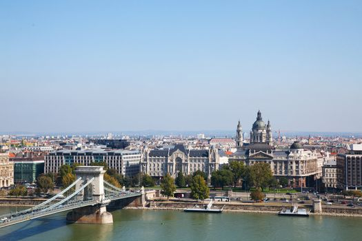 Overview of Budapest with Szechenyi chain bridge
