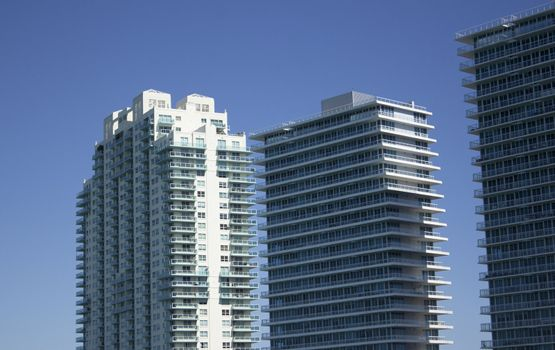 Office Buildings or Condos with a blue sky background