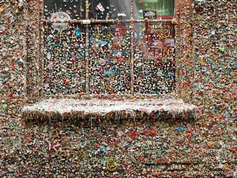 Chewing gums on a theatre's wall in Seattle
