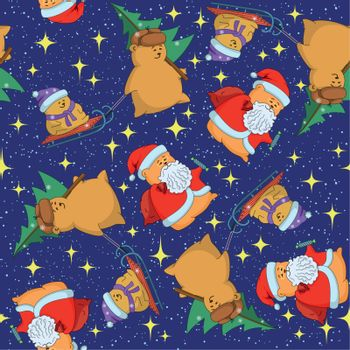 Christmas cartoon seamless background for holiday design with toys characters. Vector