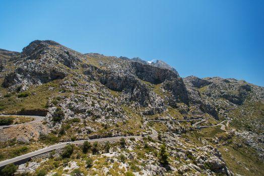Winding road in mountain of Mallorca