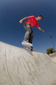 Skateboarder on a curb