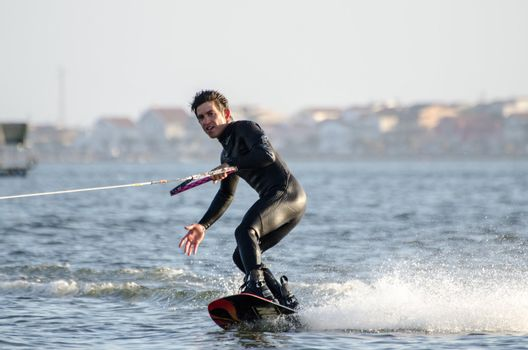 Unidentified rider during the wakeboard demo