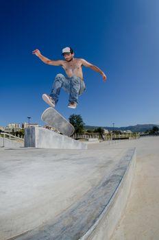 Skateboarder on a flip trick