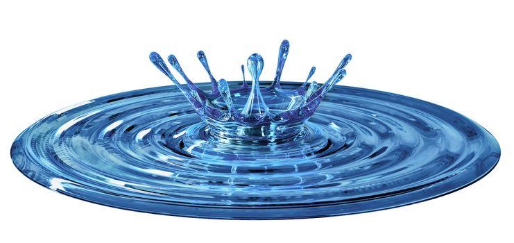 splash blue water on a white background
