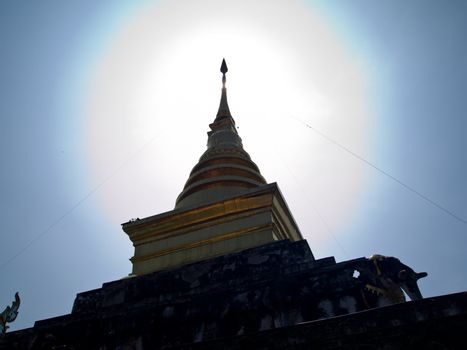 Golden stupa in Traditional Thai style which is in Wat Changkum
