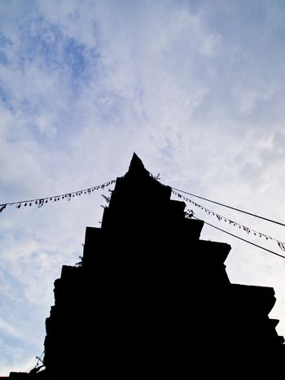 Silhouette Old stupa in Wat Prayawat (Nan-Thailand)