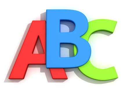 Capital letters A, B, C on the white background