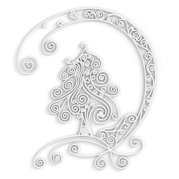 Ornamental design of christmas tree in white color, 3d quilling artwork
