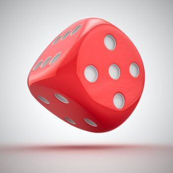 One big red dice on the white background