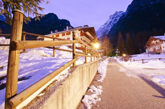Night Landscape of Dolomites during Winter, Italy