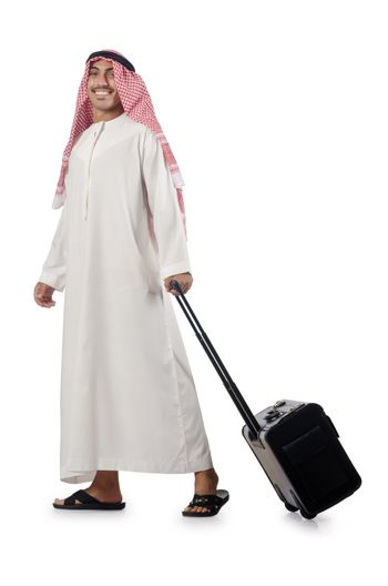 Arab on his travel with suitcase
