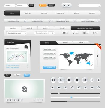 Web elements collection set. Buttons, Sliders, Media Player, Login, Switchers