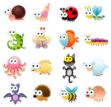 Family of funny animals. Vector isolated characters Family of funny animals. Vector isolated characters