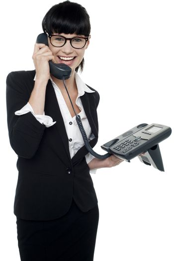Professional lady speaking on phone