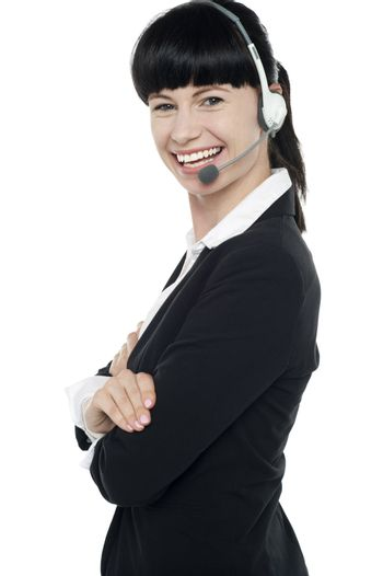 Friendly female telephone operator at your service
