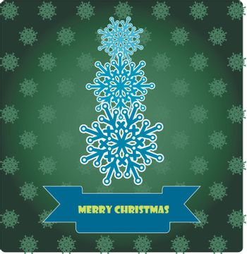 Christmas card with a snowflake on the dark green background