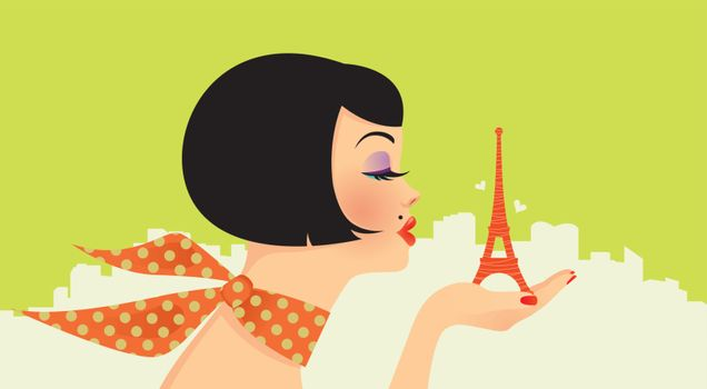Pretty glamorous girl holds in the palm of the Eiffel Tower