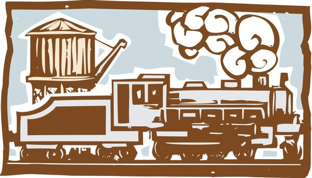 Woodcut style image of a locomotive train with a railroad water tower.