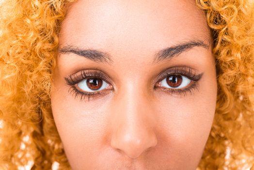 Eastern women's eyes very close