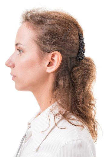 profile of a young woman close up on white background
