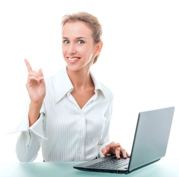 young woman in office attire. The figure is isolated on a white background with the clipping path