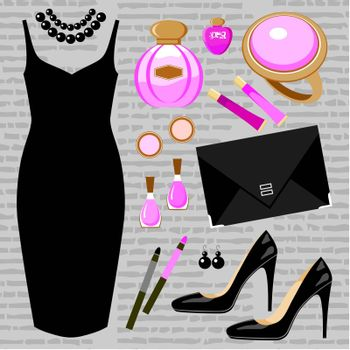 Fashion set with a cocktail dress