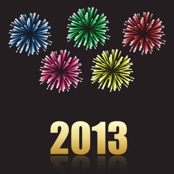 2012 new year celebration with colorful fireworks