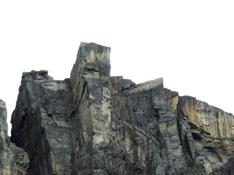 view up to Pulpit Rock in norway, steep mountain