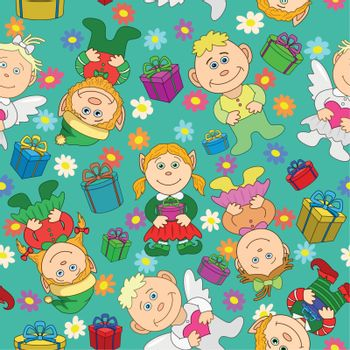 Seamless background: kids with gifts and hearts