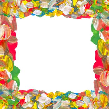 Abstract color paints frame on white background with place for your text