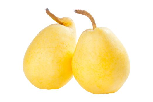 Three ripe yellow pears isolated on white background