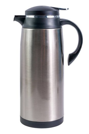 Thermo flask from stainless steel for hot drinks isolated on white background