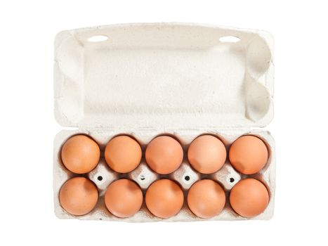 Ten brown eggs in open carton package to isolate the background