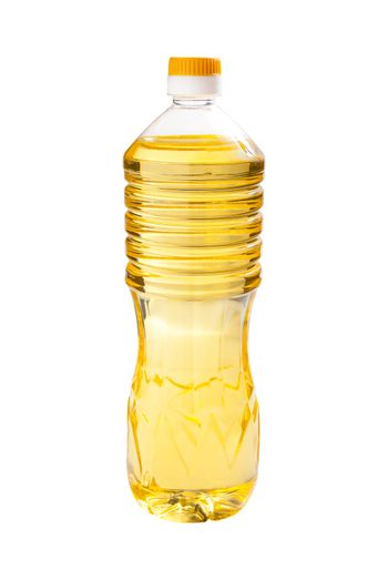 Sunflower oil in the transparent bottles isolated on white background