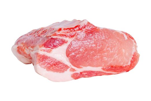 Huge red meat raw pork chunk isolated on white background