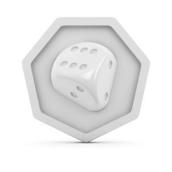 Image of dice on the white badge