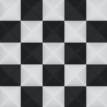 Black and white chess background, sculptured texture