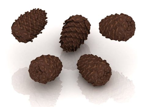 Pine cones thrown up into the air on an isolated white background