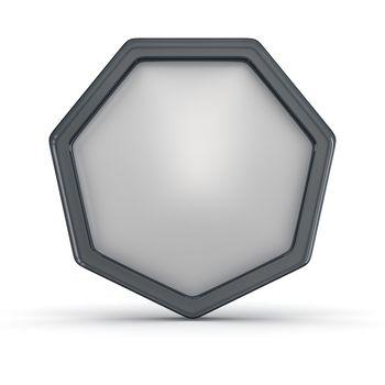 Blank badge in black frame on the white background